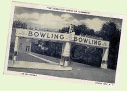 The Playdrome Bowling Alley - vintage 1930s Union City, NJ postcard