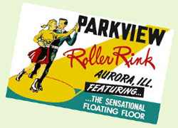 Parkview Roller Rink vintage skate label - 1950s Illinois