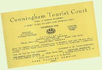 Vintage Cunningham Tourist Court business card - 1940s